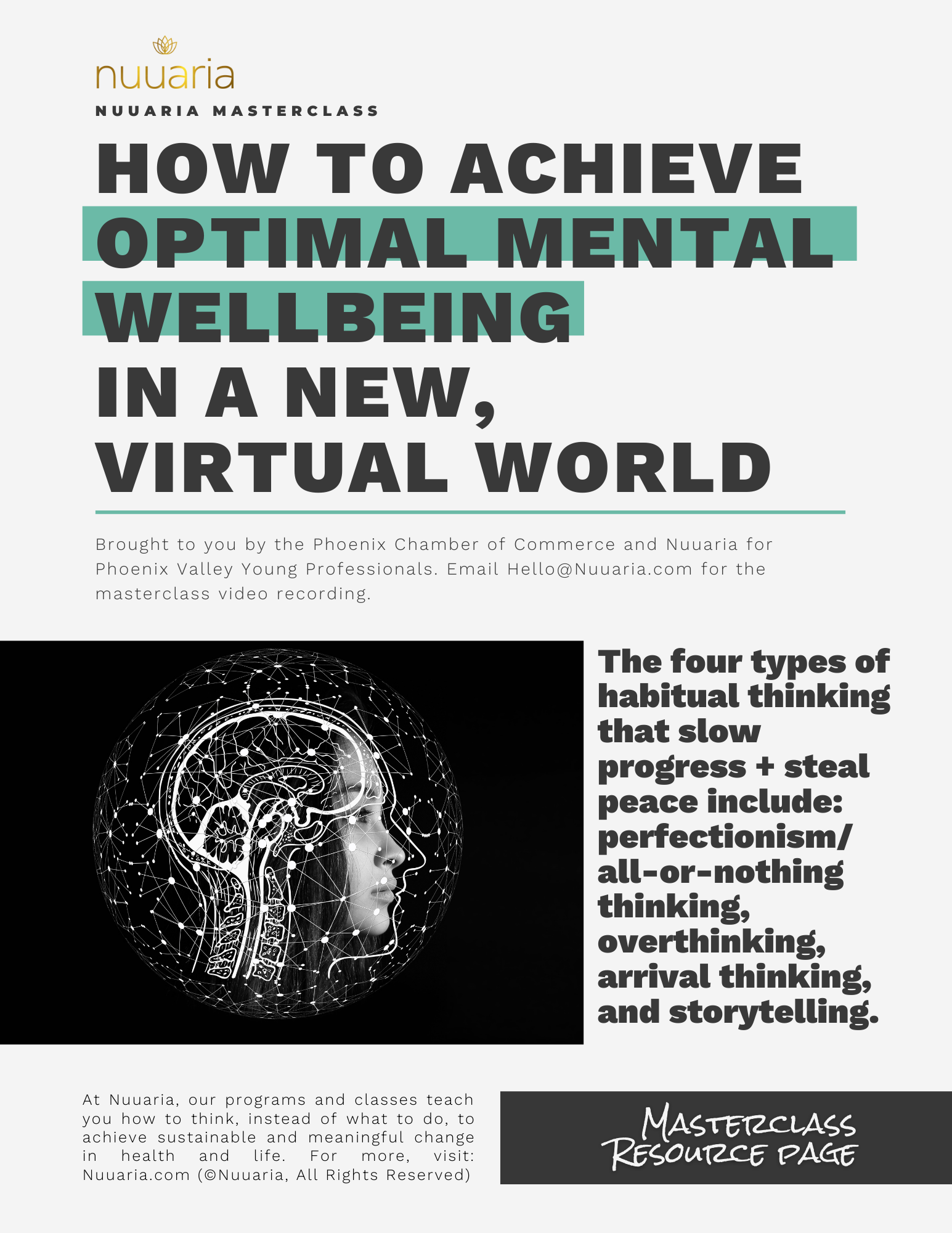 nuuaria masterclass resource page for How to Achieve Optimal Mental Wellbeing  in a New, Virtual World